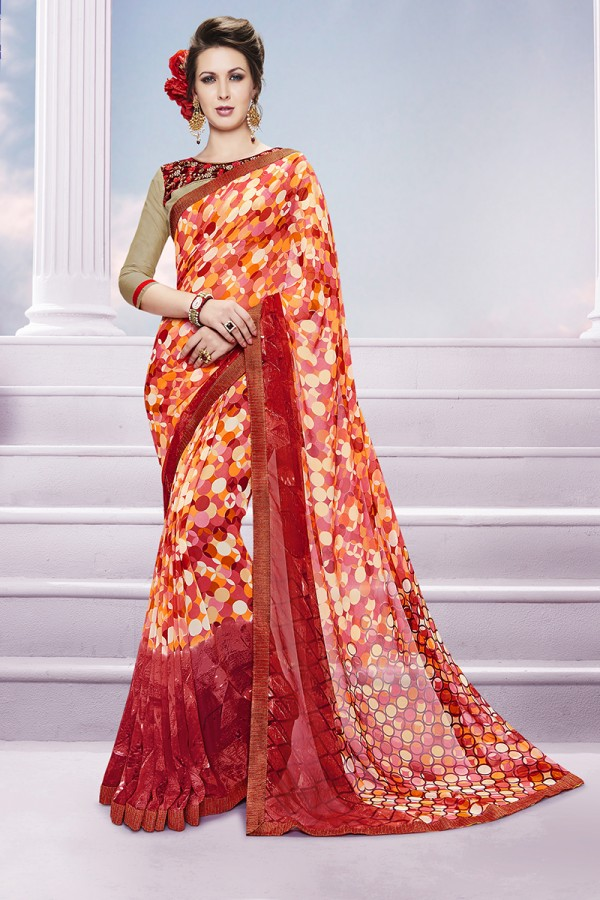 Orange Georgette Designer Sarees from Kalishta Fashion