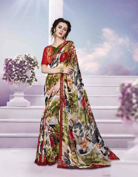 Orchid Printed Georgette Designer Sarees from Kalishta Fashion