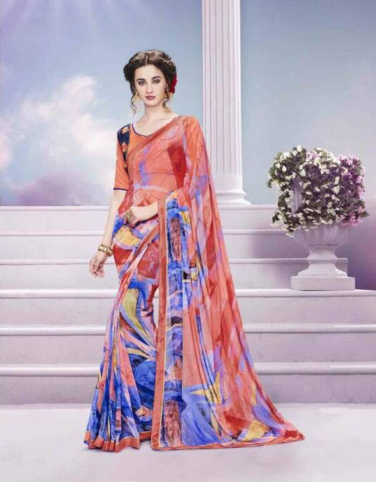 Light Magenta Red Georgette Designer Saree from Kalishta Fashion