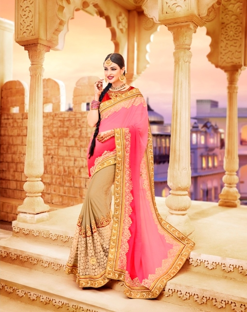 Soft Pink Embroidered Saree from Kalishta Fashion's KHWAAB Vol-10