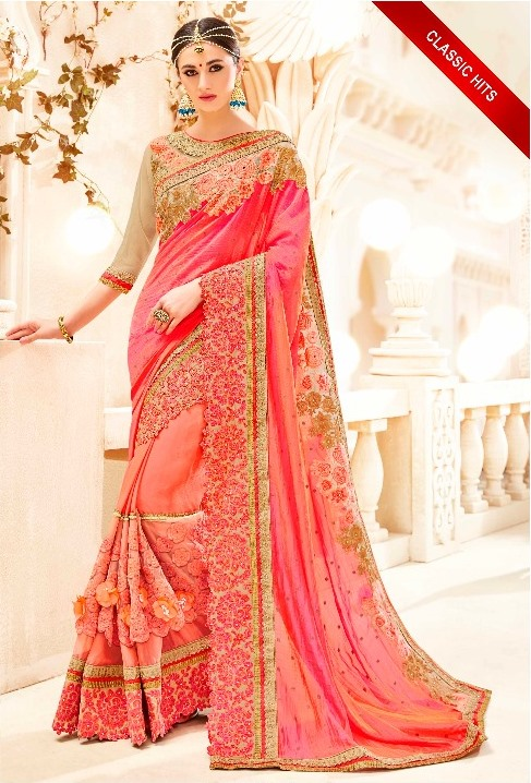 Orange Pink Embroidered Saree from Kalishta Fashion's KHWAAB Vol-10