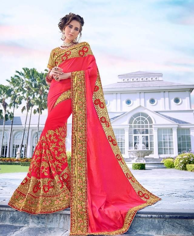 Red Pink Embroidered Saree from Kalishta Fashion's KHWAAB Vol-10