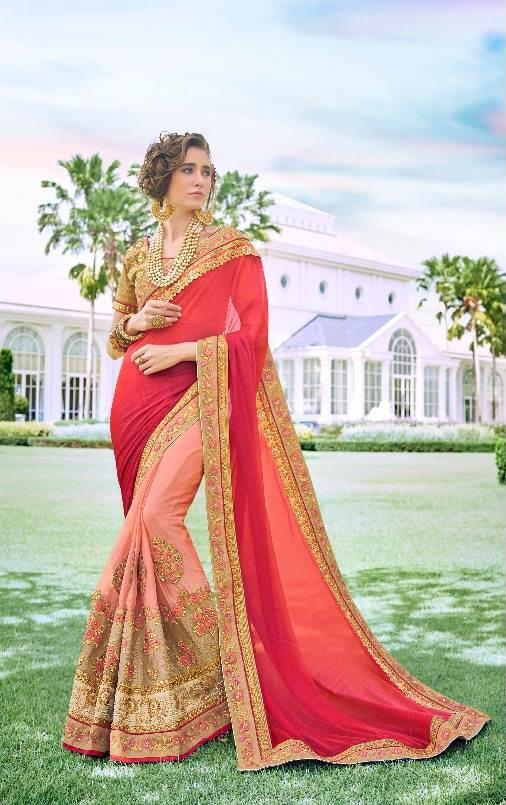 Hot pink Embroidered Saree from Kalishta Fashion's KHWAAB Vol-10