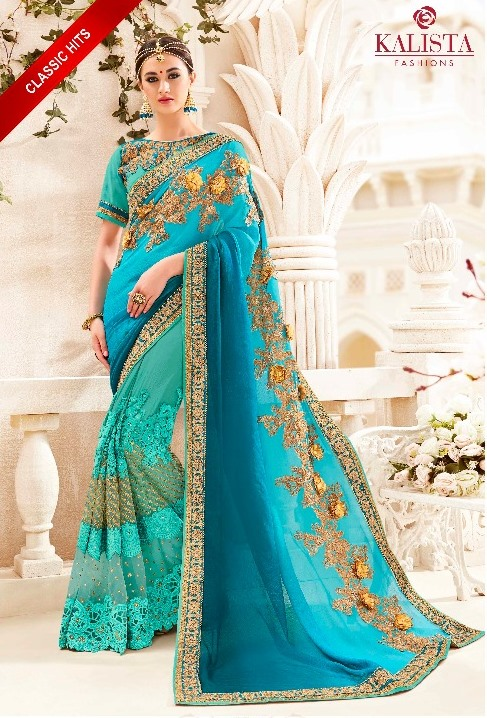 Blue Embroidered Saree from Kalishta Fashion's KHWAAB Vol-10