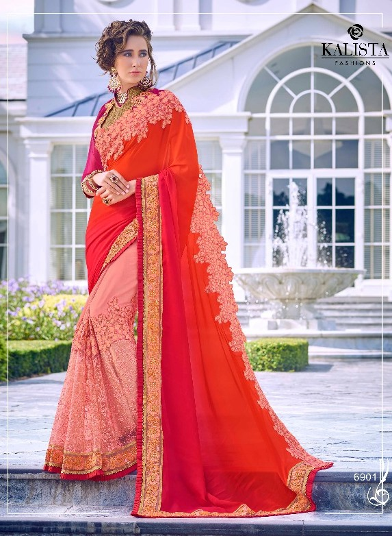 Deep pink Embroidered Saree from Kalishta Fashion's KHWAAB Vol-10