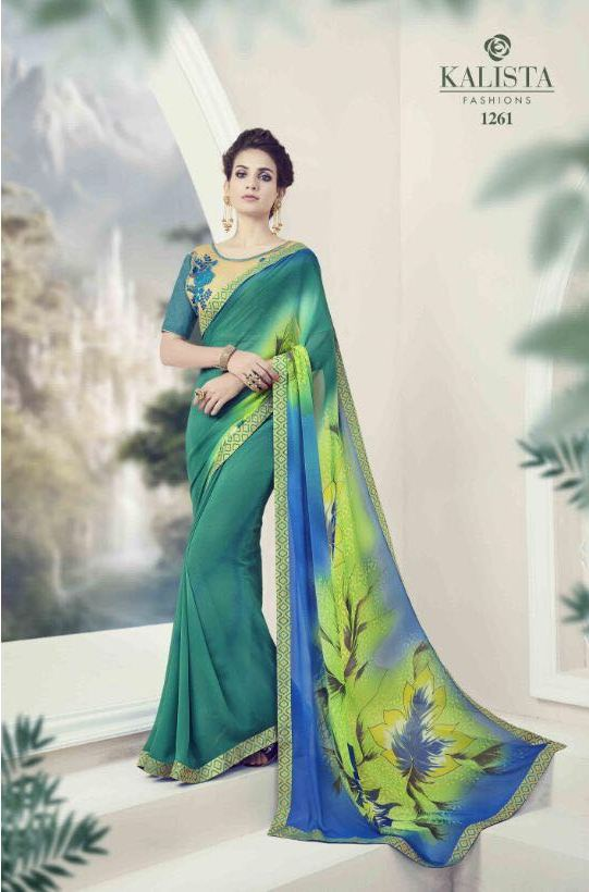 Light Green Orchid Printed designer saree from Kalishta Fashion