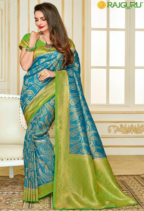 Exclusive kolki print Sky Blue With Parrot Green Contrast Saree from Rajguru Fashion