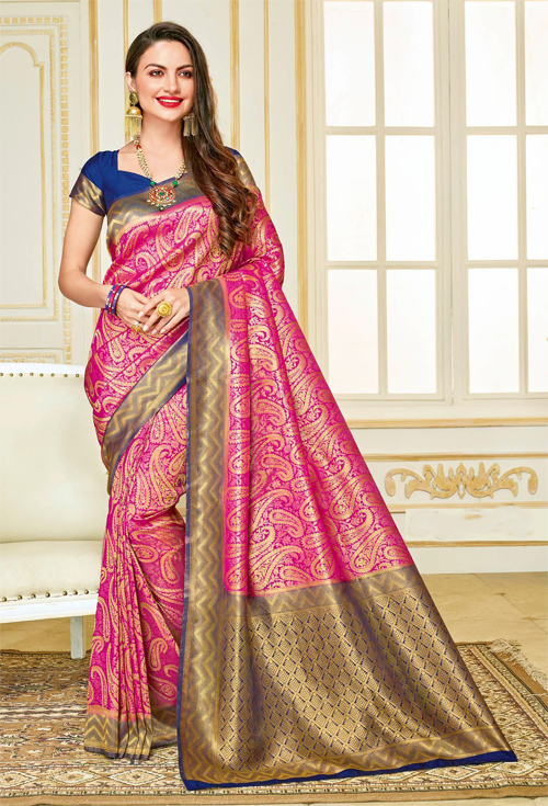 Exclusive Light Purple  with Korlki print Zaamen and Blue cooper contrast sardine Saree from Rajguru Fashion