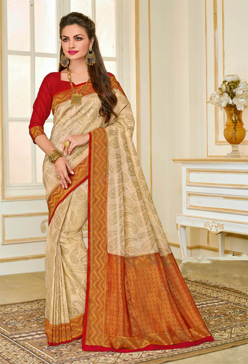 Gorgeous off white and red golden sardine with red border contrast Saree from Rajguru Fashion