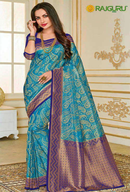 Gorgeous Sky Blue  with kolki print Zameen and Blue with Cooper contrast sardine Saree from Rajguru Fashion