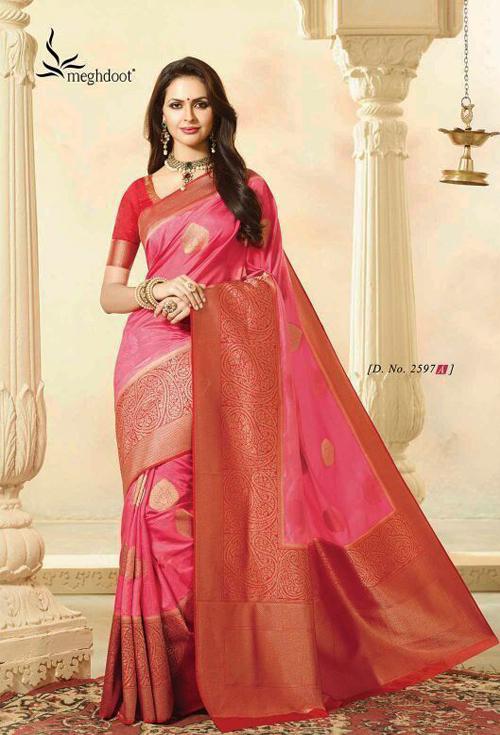 Exclusive Rosey Pink color with golden zorie work  soft silk katan sharee by Viniya Fashion