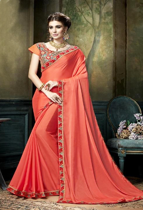 Exclusive Vermilion orange color with heavy border work  party wear