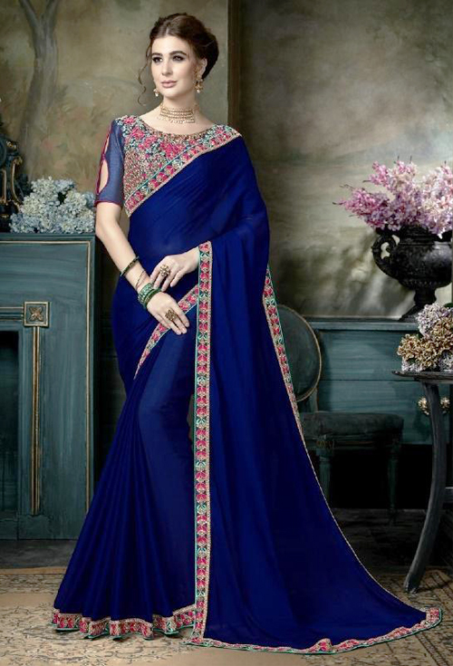 Elegant Blue color with heavy border embroidery work  party wear