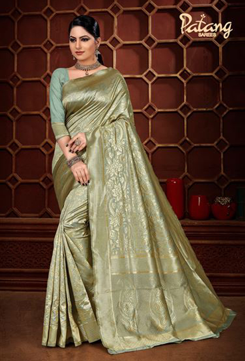 Golden olive color banarasi silk saree