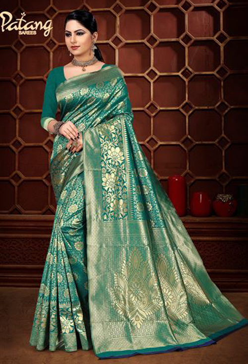 Light sea green banarasi silk saree