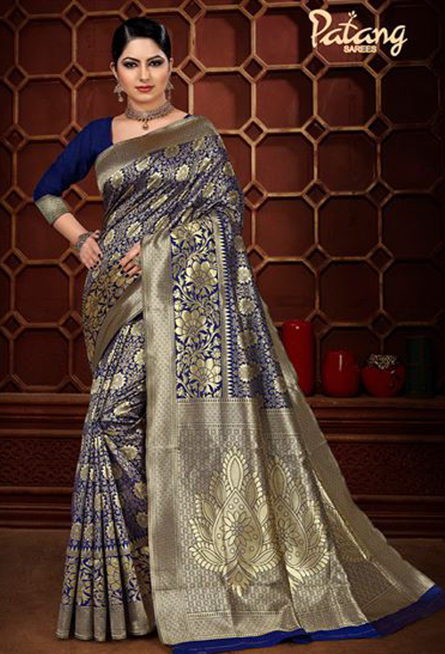 Nevy blue banarasi silk saree