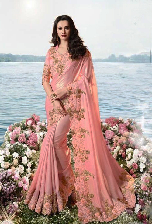 Pink Designer Sulakshmi Party Wear Saree