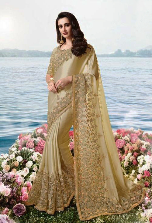 Golden Color Designer Sulakshmi Party Wear Saree