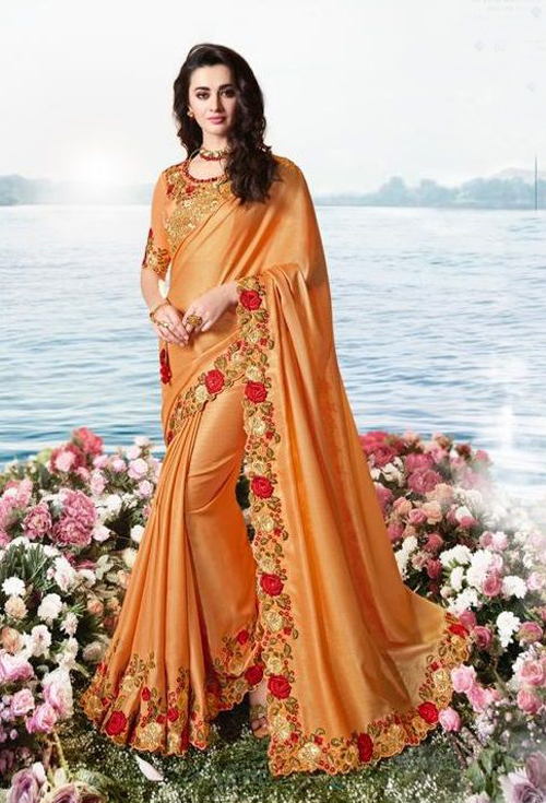 Sulakshmi Designer Saree In Orange Color