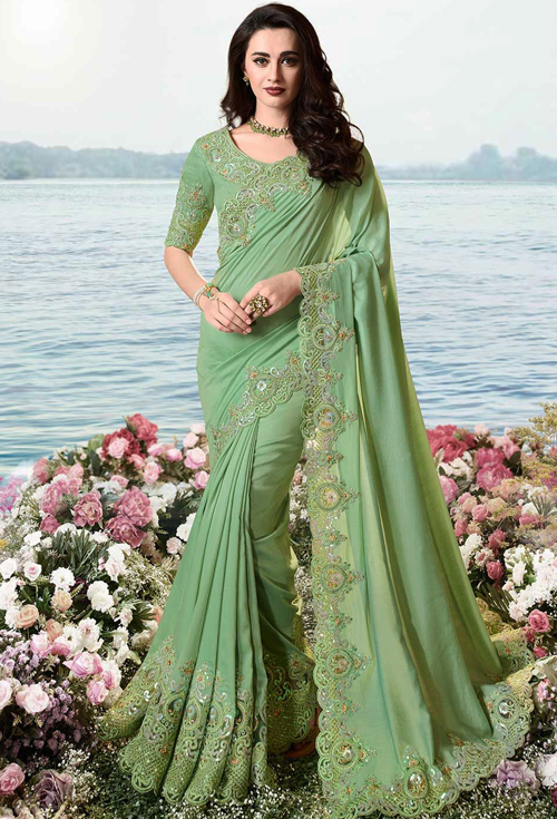 Sulakshmi Heavy Designer Saree In Sea-green Color