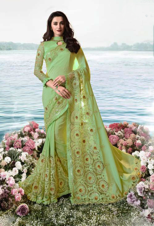 Sulakshmi Designer Party Wear Saree In Olive Color