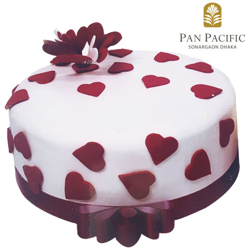 Fondant cake with red heart