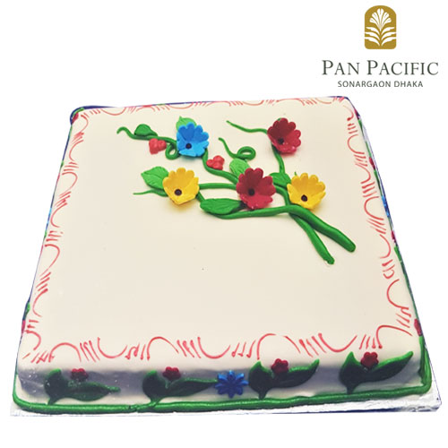 Cake with mix colour flowers
