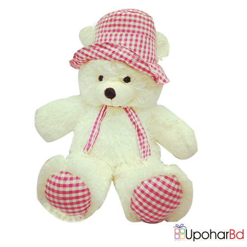 White Teddy wearing pink tie