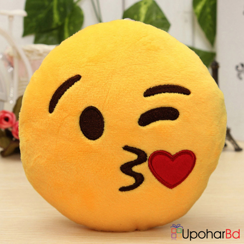 Yellow emoji cushion