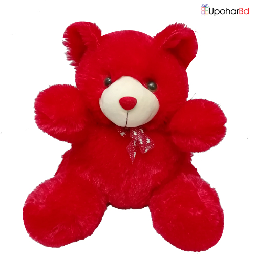 Soft teddy bear in red