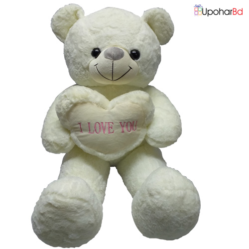 White Teddy Stuffed  With Love
