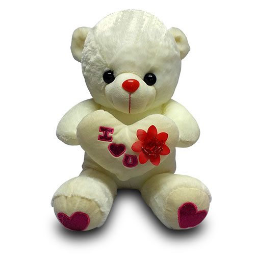 White Stuffed Teddy with Heart