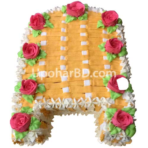 Plate Decoration For Gaye Holud: Kula Shaped Gaye Holud Cake