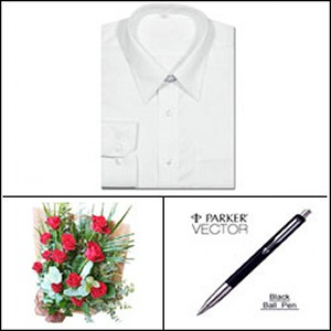 Office shirt package with pen
