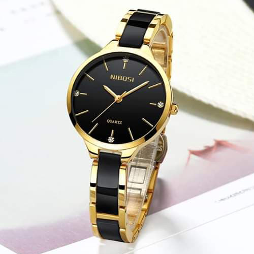 Black Quartz Wrist Watch for her