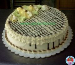 Cake with chocolate stripes