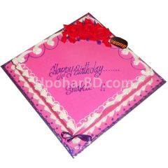 Cake with pink design and ribbon