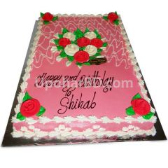 Cake with lots of roses and pink design