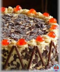 Cake with cherry and blackforest flavour