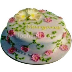 Pink and White flora Cake