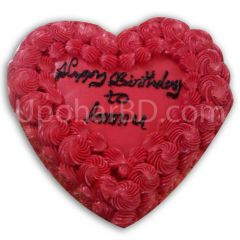 Floral heart shaped red velvet cake