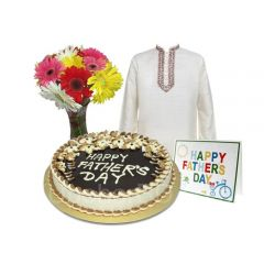 Gift for Father with Aarong Panjabi, Cake and Flower