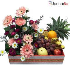 Combine Basket Of Fruits And Flowers