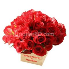 Red roses with personalised message
