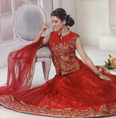 Vintage red koti lehenga with embroidery