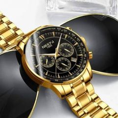 Golden-Black Wrist Watch for Him