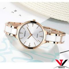 White Quartz Wrist Watch for her