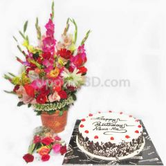 Black forest cake with large flower bouquet