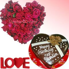 Chocolate cake and roses for your love