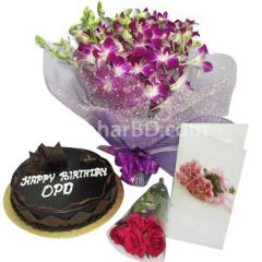 Mr Baker cake and orchid gift package
